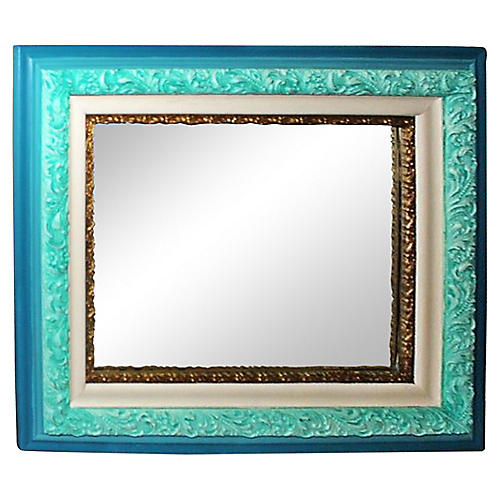 Antique Turquoise Painted Mirror