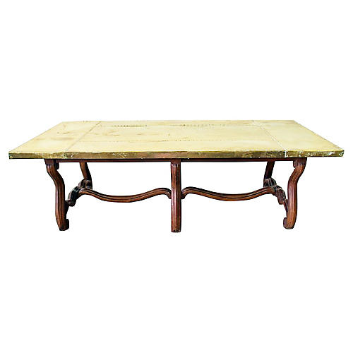 Louis XIV-Style Brass-Top Coffee Table