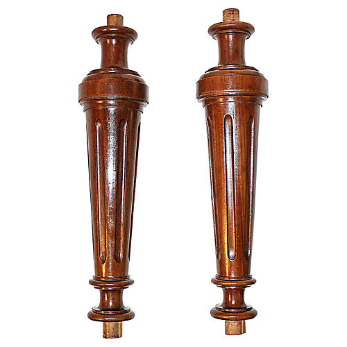 French Walnut Columns, Pair