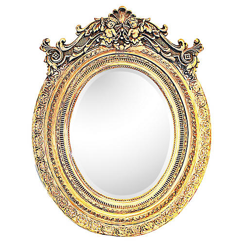 Italian Washed-Gilt Oval Putti Mirror