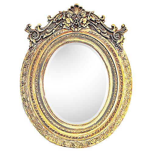 Italian Washed-Gilt Oval Putti Mirror