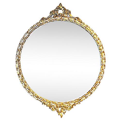 Vintage American Rococo Round Mirror