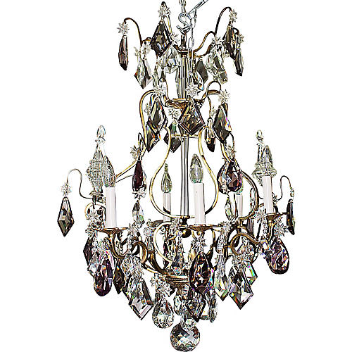 French Baccarat Lyre-Shaped Chandelier