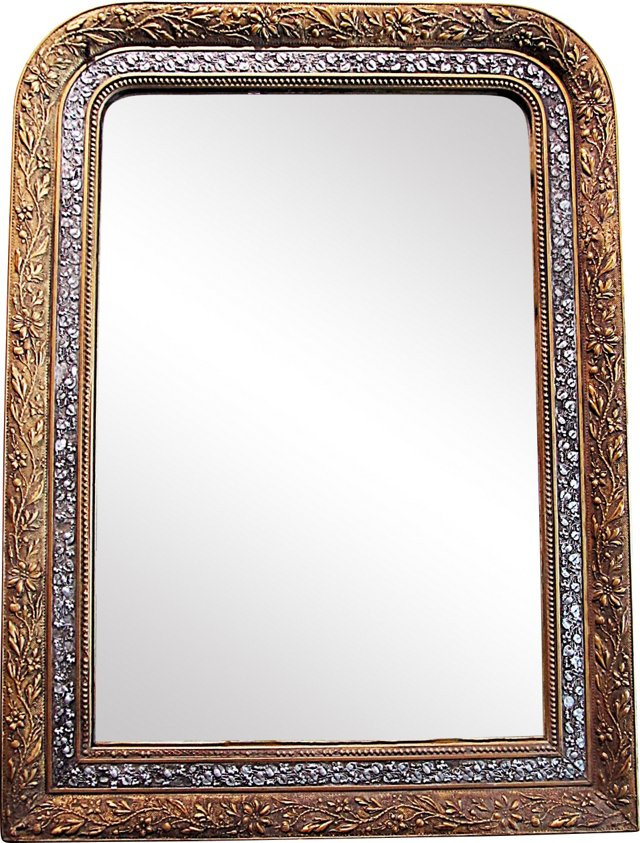French Silver & Gilt Mirror