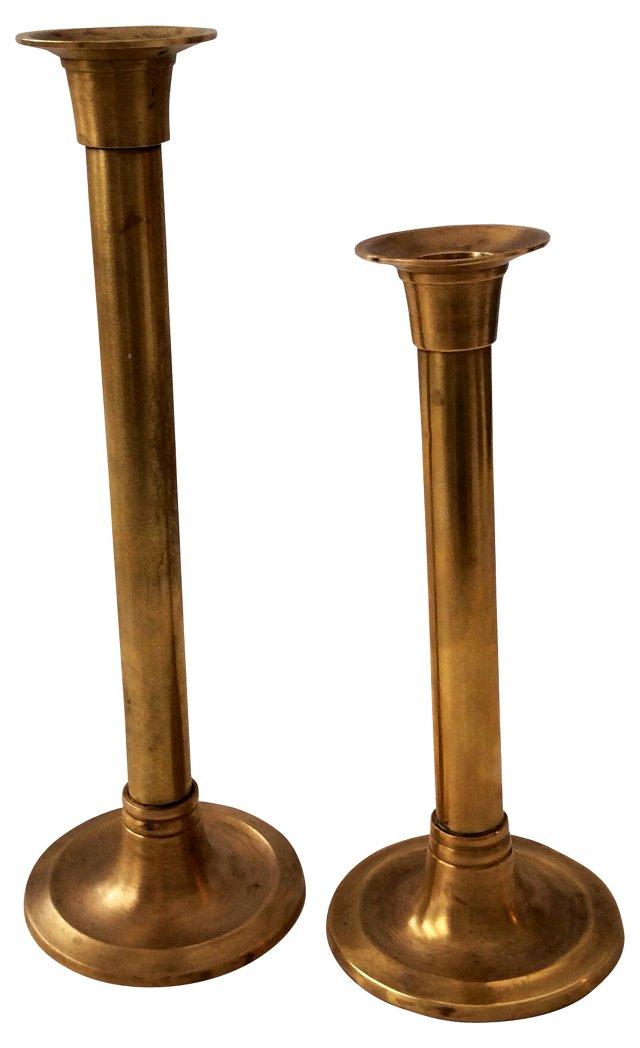 Brass Candleholders, Pair