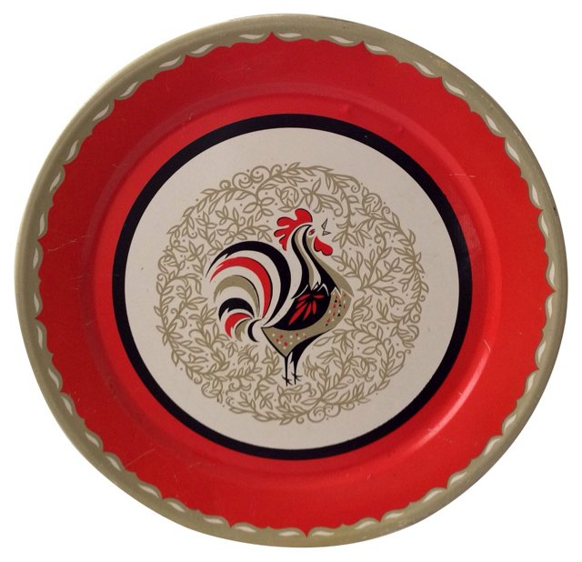 1960s Metal Rooster Tray