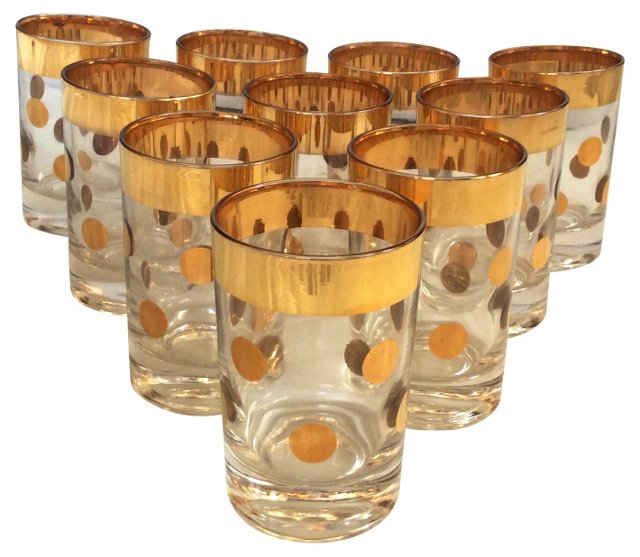 Polka Dot Bar Glasses, S/10