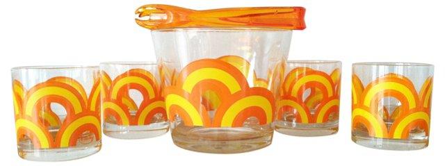 Mod Ice Bucket w/ Tongs & 4 Glasses