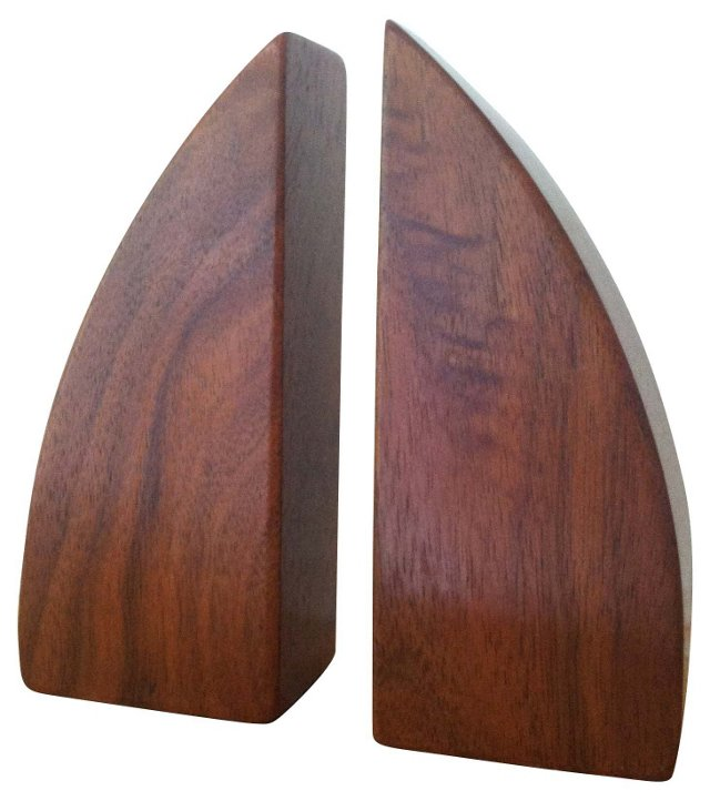 Midcentury Wood Bookends