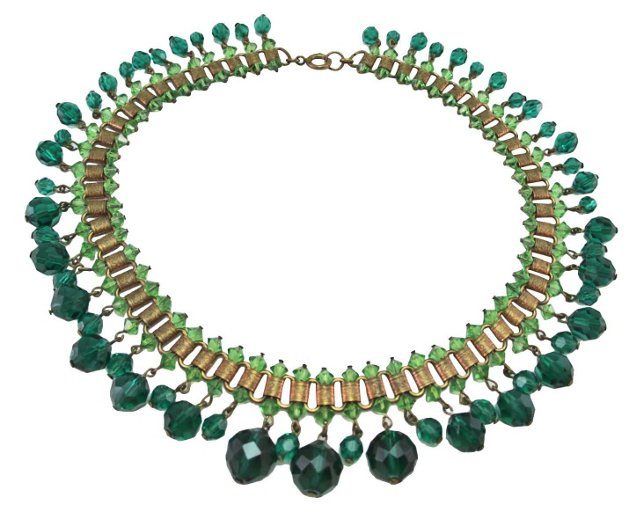 Green Glass Fringe Book Chain Necklace