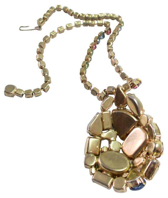 Jeweled Pastel Pendant Necklace