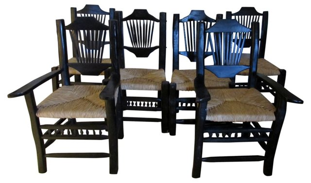 Ebonized Dining  Chairs, S/6