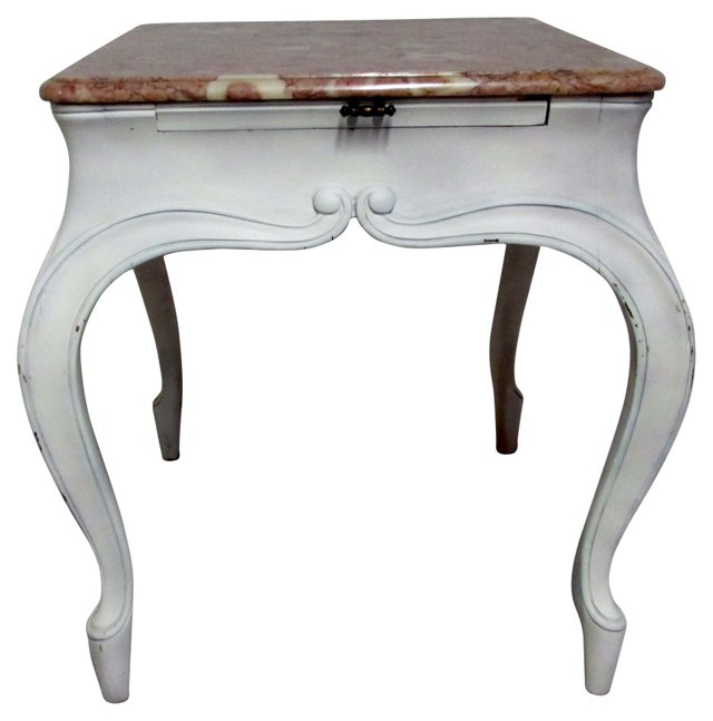 French Distressed Marble Table