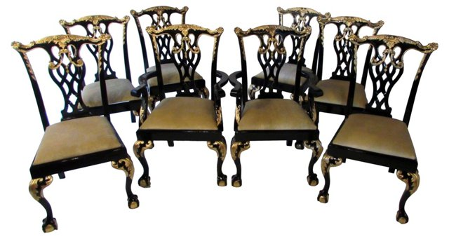 Chippendale Dining Chairs, S/8