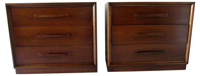 Midcentury Broyhill Walnut Chests, Pair