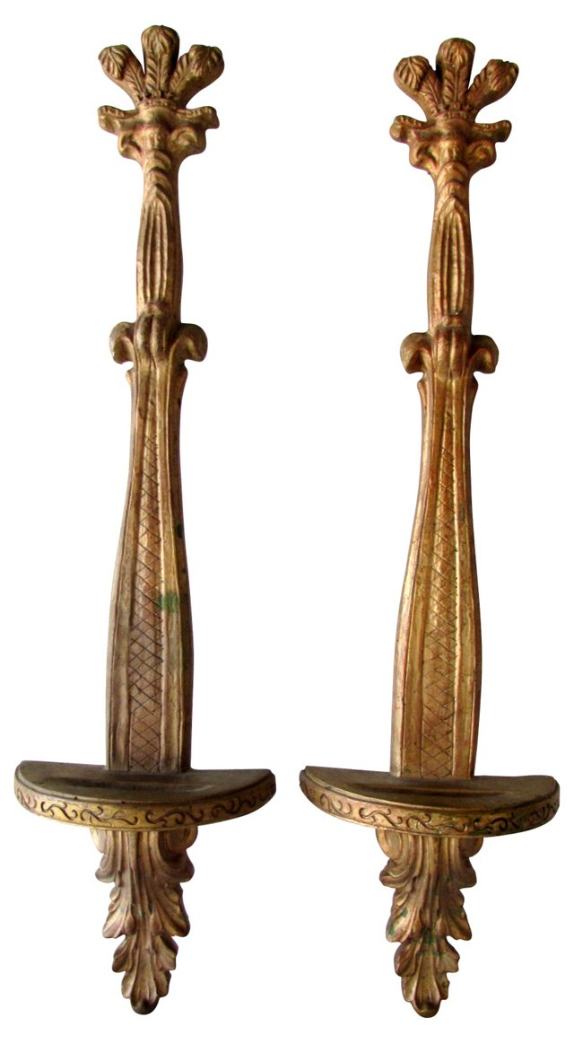 Gilt Plate Holders, Pair