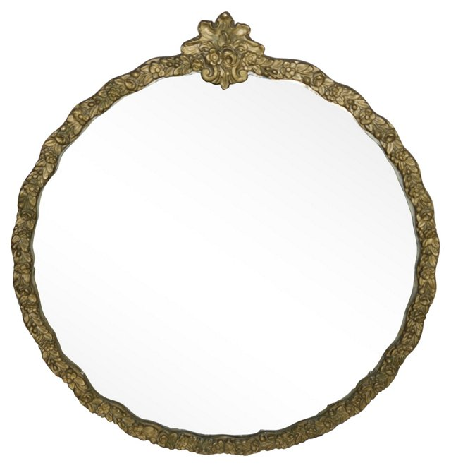 Round Gold Carved Floral Mirror