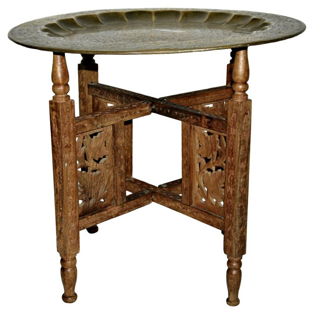 Moroccan   Side Table w/ Brass Tray