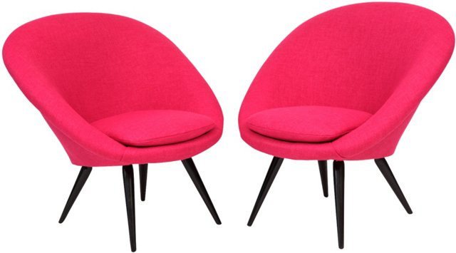 1960s Pink Italian Lounge Chairs, Pair