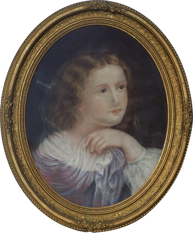 19th-C. Pastel Portait of a Girl