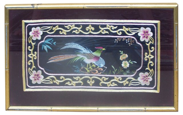 Framed Silk Embroidery Panel