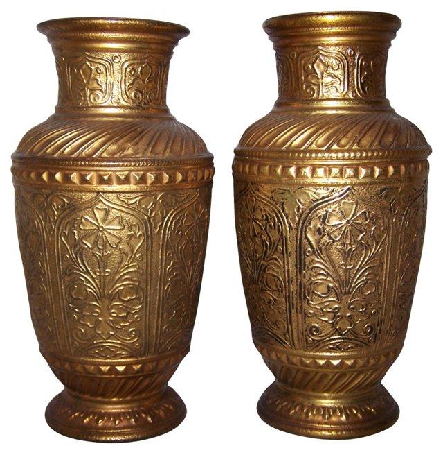 Arabesque Pottery Vases, Pair