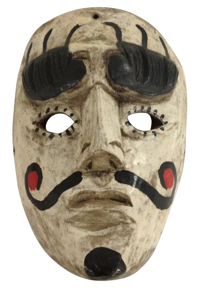 Hand-Carved White Male Mask