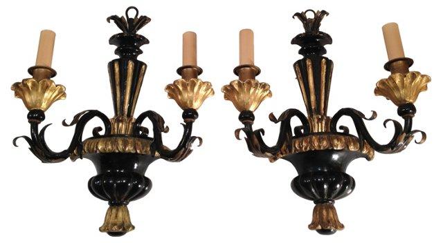 Midcentury Black & Gold Sconces, Pair