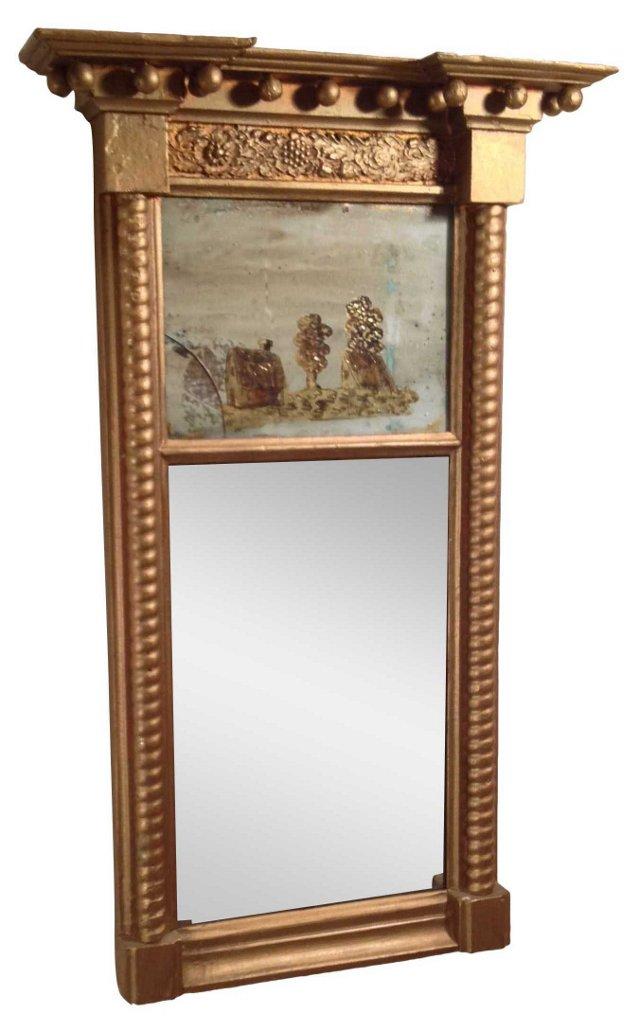 Gilt Trumeau Mirror w/ Eglomisé Panel