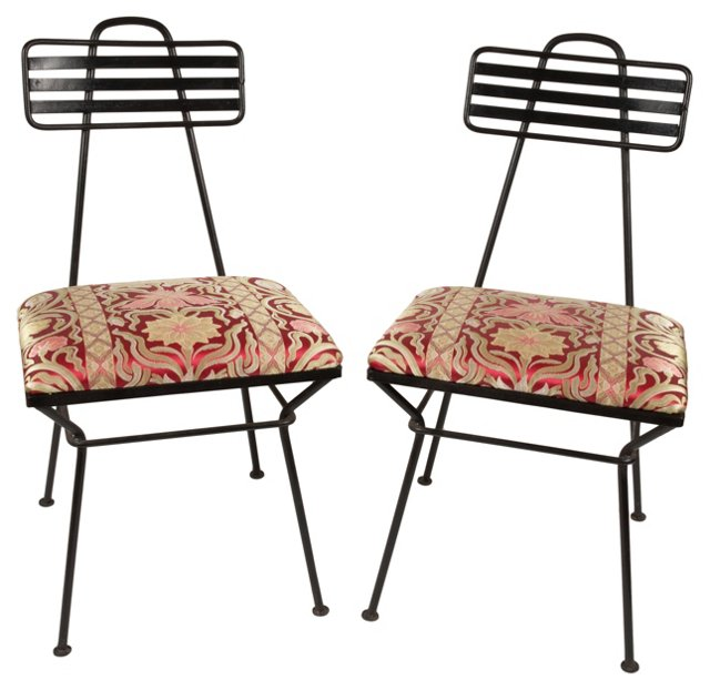 French  Iron  Chairs,  Pair