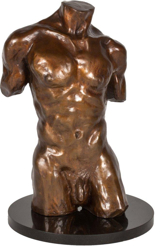 Bronze Torso on Marble Base