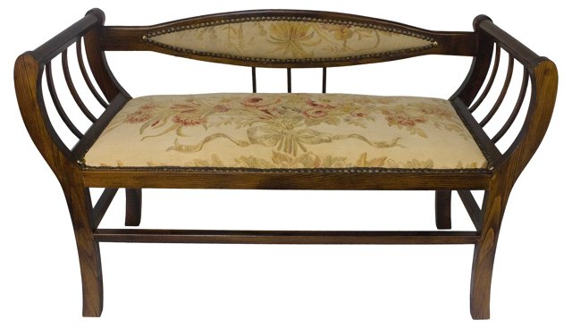 Bench w/ Aubusson Rug Upholstery