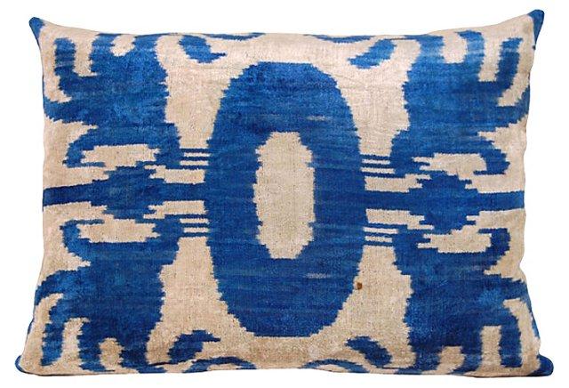 Blue & Cream   Ikat Pillow