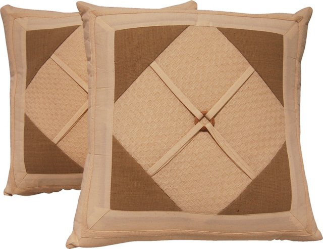Diamond Cotton Pillows, Pair