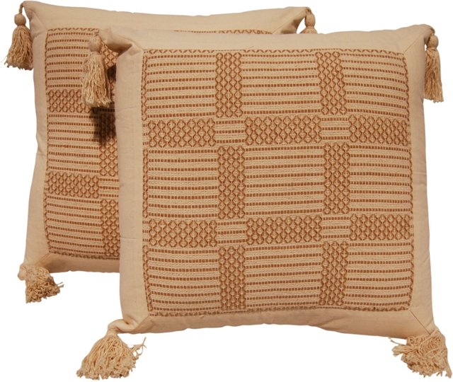 Embroidered Cotton Pillows, Pair