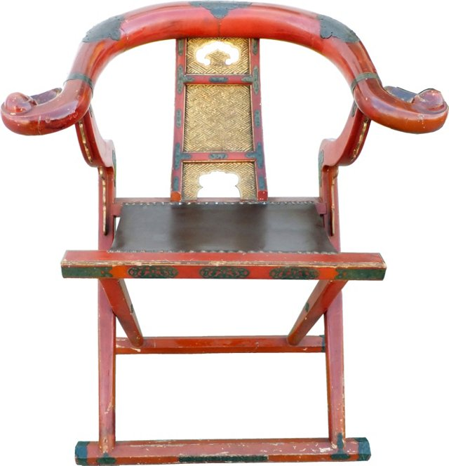 19th-C. Red Lacquer Japanese Chair