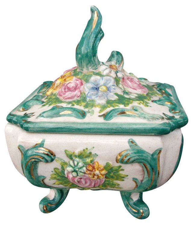 Porcelain Floral Keepsake Box w/ Lid