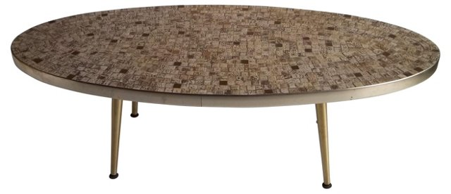 1960s Tiled Oval Cocktail Table