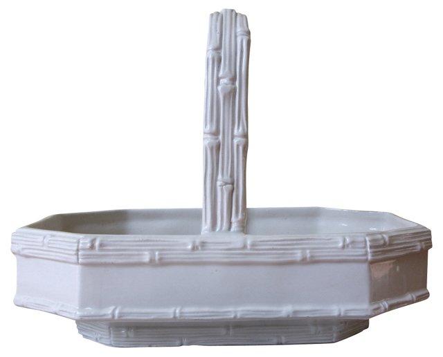 Bamboo-Style Porcelain Basket