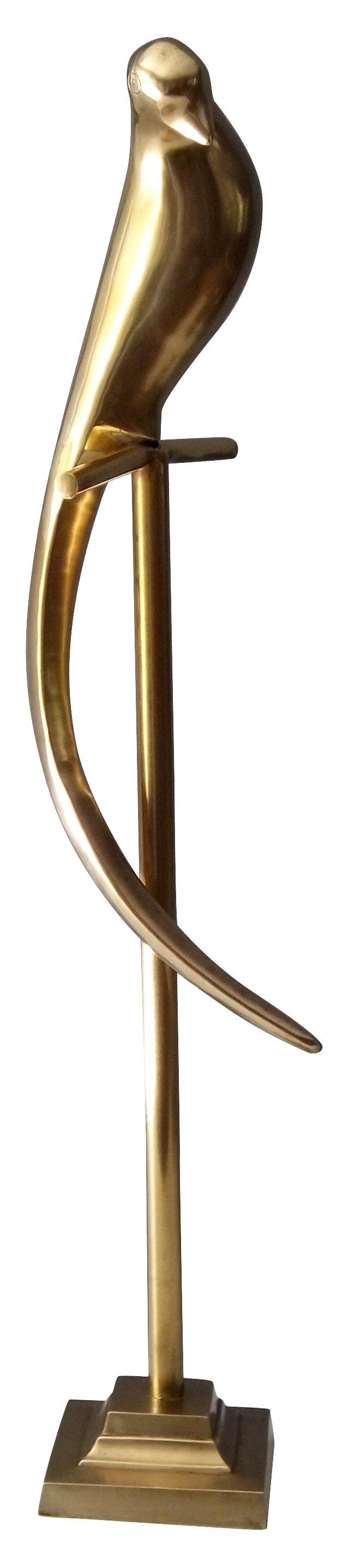 Brass Bird Sculpture on Perch