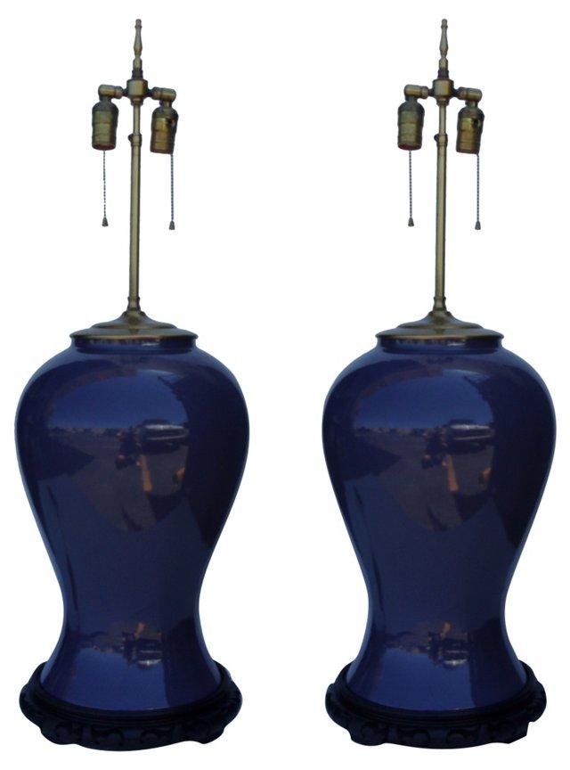 Asian Ginger Jar Lamps, Pair