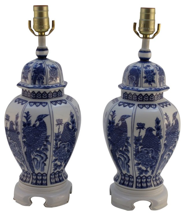 Chinese-Style Blue & White Lamps, Pair