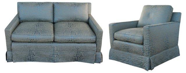 Faux-Crocodile Sofa & Club  Chair