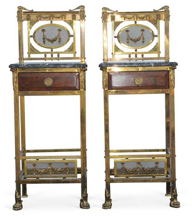 Antique French Brass Nightstands, Pair