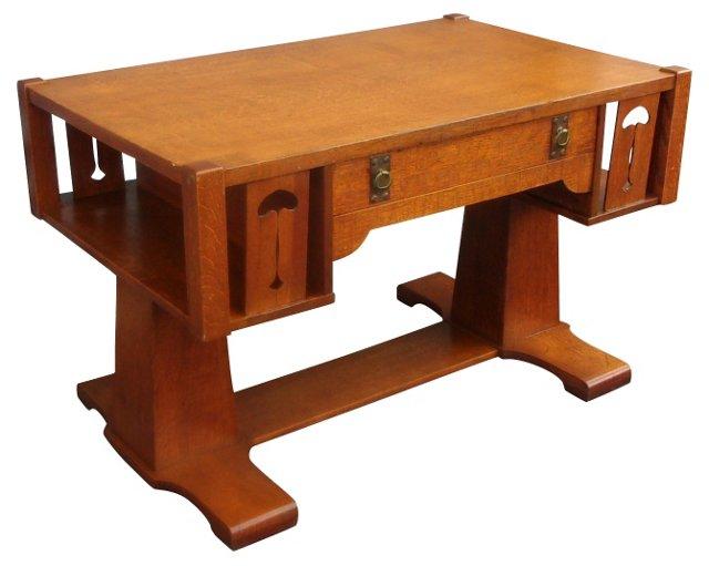Mission-Style Oak Writing Desk