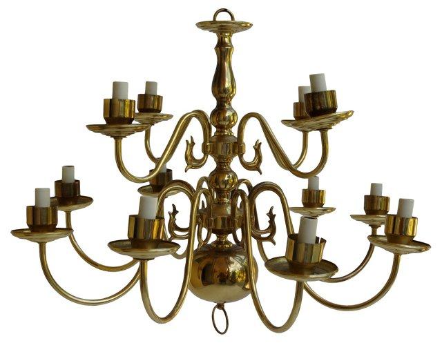 Georgian-Style 2-Tier Brass Chandelier