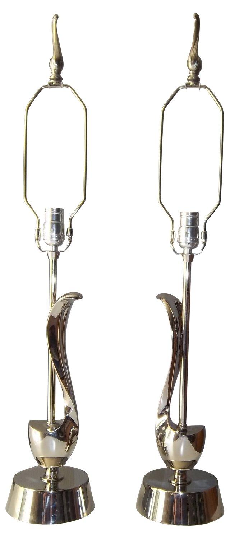 Chrome Laurel Lamps, Pair