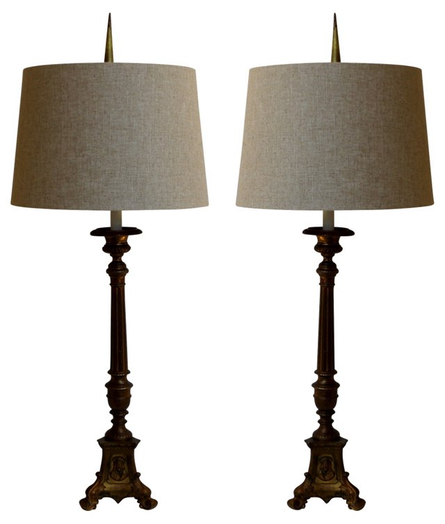 Italian Candlesticks Table Lamps, Pair