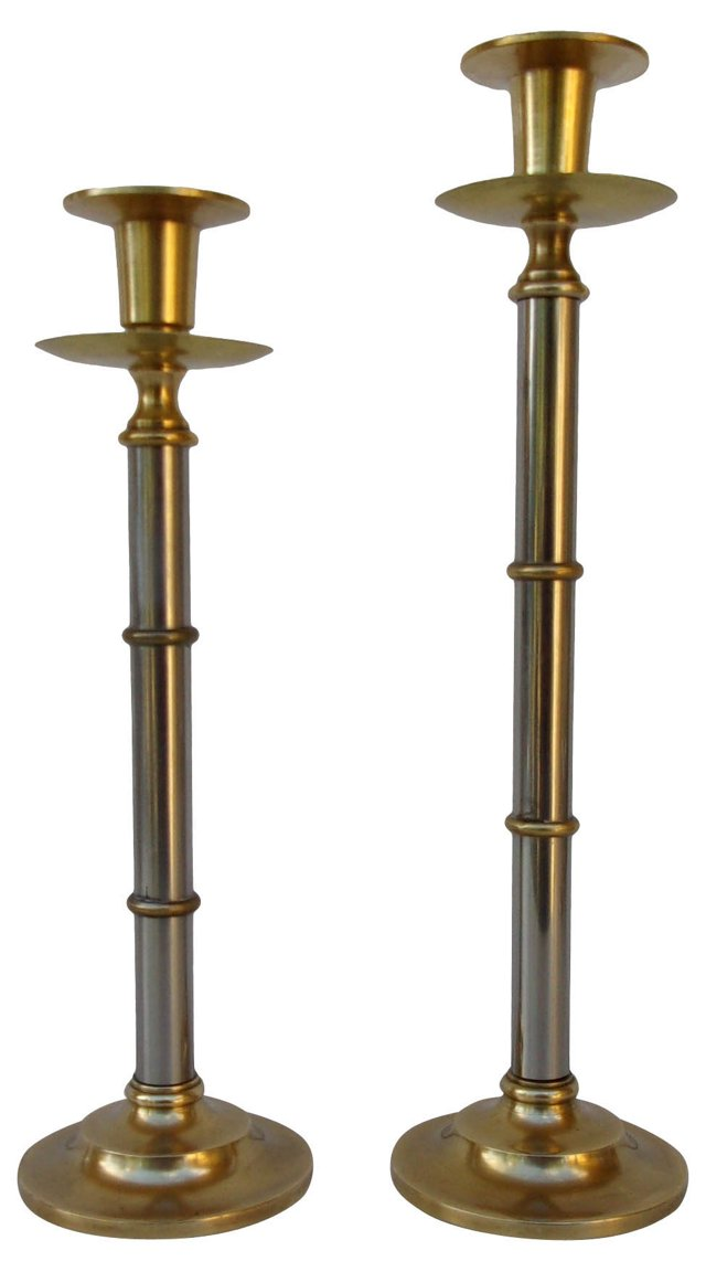 Bamboo-Style Candleholder, Pair
