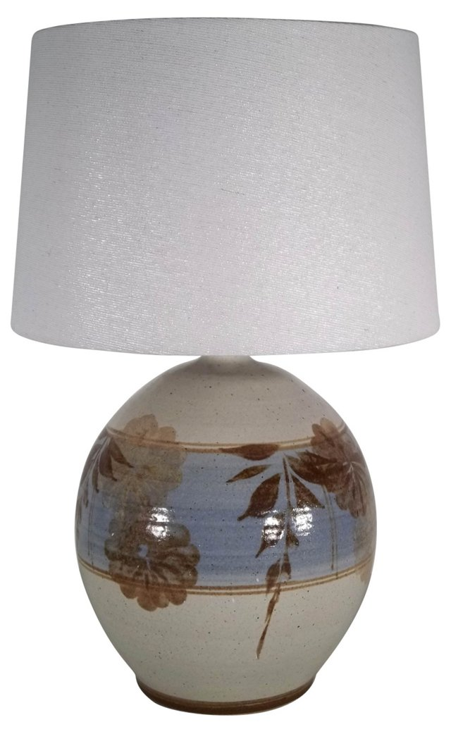 California Pottery Lamp w/ Linen Shade